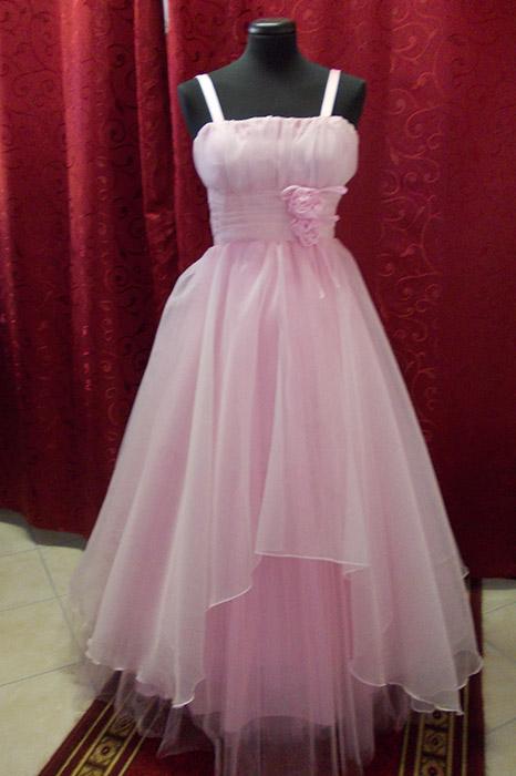 c88f9825a01 Koszorúslány ruha, organza, rózsaszín, elöl rövid – 5let
