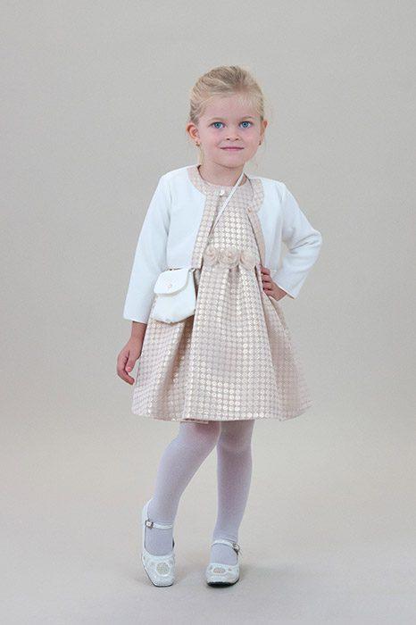 e9fa3669c3 Krém-bézs színű lányka alkalmi ruha, boleróval, táskával – 5let