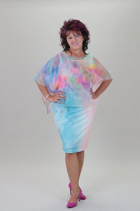 b5553aa222 Szivárvány színű 2 részes alkalmi ruha, muszlin felsővel – 5let